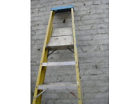 STEP LADDER ELECTRICIAN SAFETY FIBRE GLASS FOLDING USED