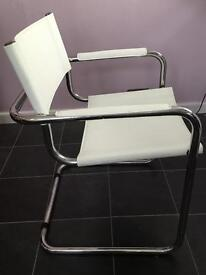 4 Dwell White leather chairs