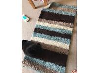 Brown and teal rug