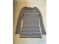 Oasis black and cream striped long sleeve top