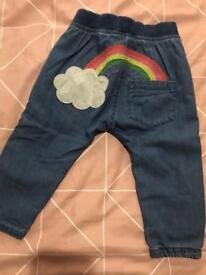 **BABY NEXT JEANS WITH RAINBOW SIZE 6-9 months**