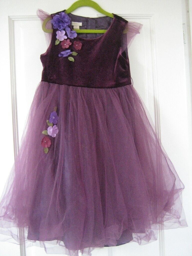 Monsoon party dress 6-8 years. burgundy velvet top and purple net ...