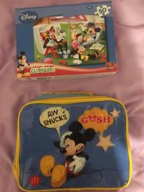 Micky Mouse Puzzle and Lunch Bag