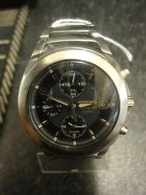 Seiko 7T62 OEEO Mens Alarm Chronograph Watch w/stainless steel bracelet