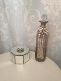 Mirrored trinket box and Antique mirrored bottle