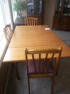 Square oak table and chairs