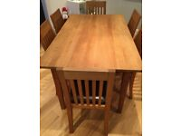 Oak Dining Table (Extending) & 6 Chairs