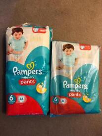 Pampers Baby Dry Pull Ups Pants/Nappies, Size 6 (16kg+/35lbs+), 38 & 32 Pack