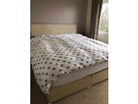 Super king (6' wide) fabric covered bed base with matching headboard