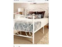 White bed frame with Crystal knobs