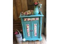 Cupboard Dresser Upcycled Vintage Painted Annie Sloan Provence with Decoupage Shabby Chic Furniture