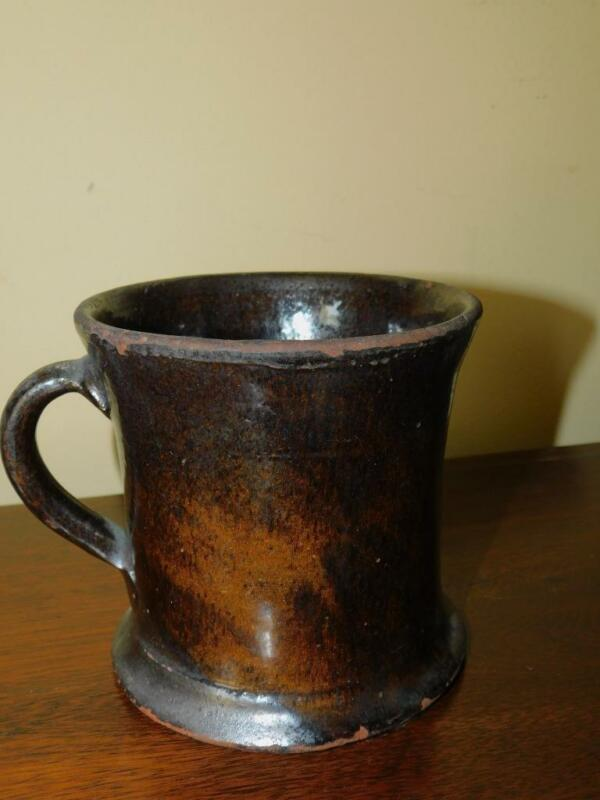 "ANTIQUE AMERICAN REDWARE MUG 4.75"" D 4""TALL"