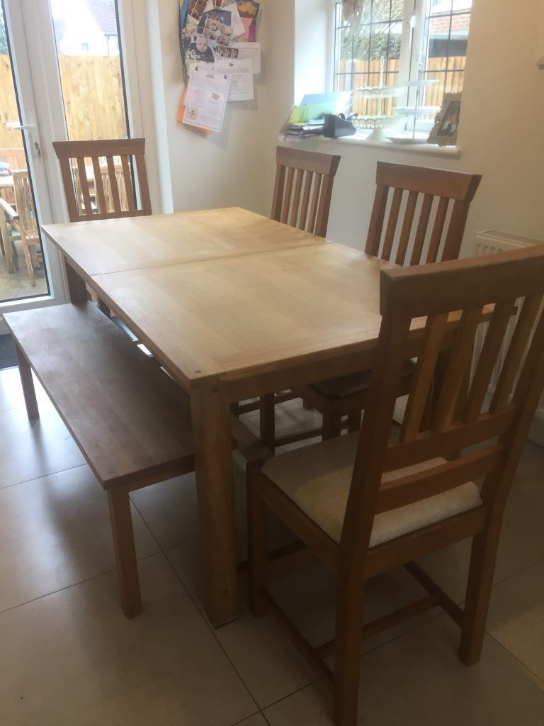 Laura Ashley Solid Oak Milton Dining Table Bench And Chairs In
