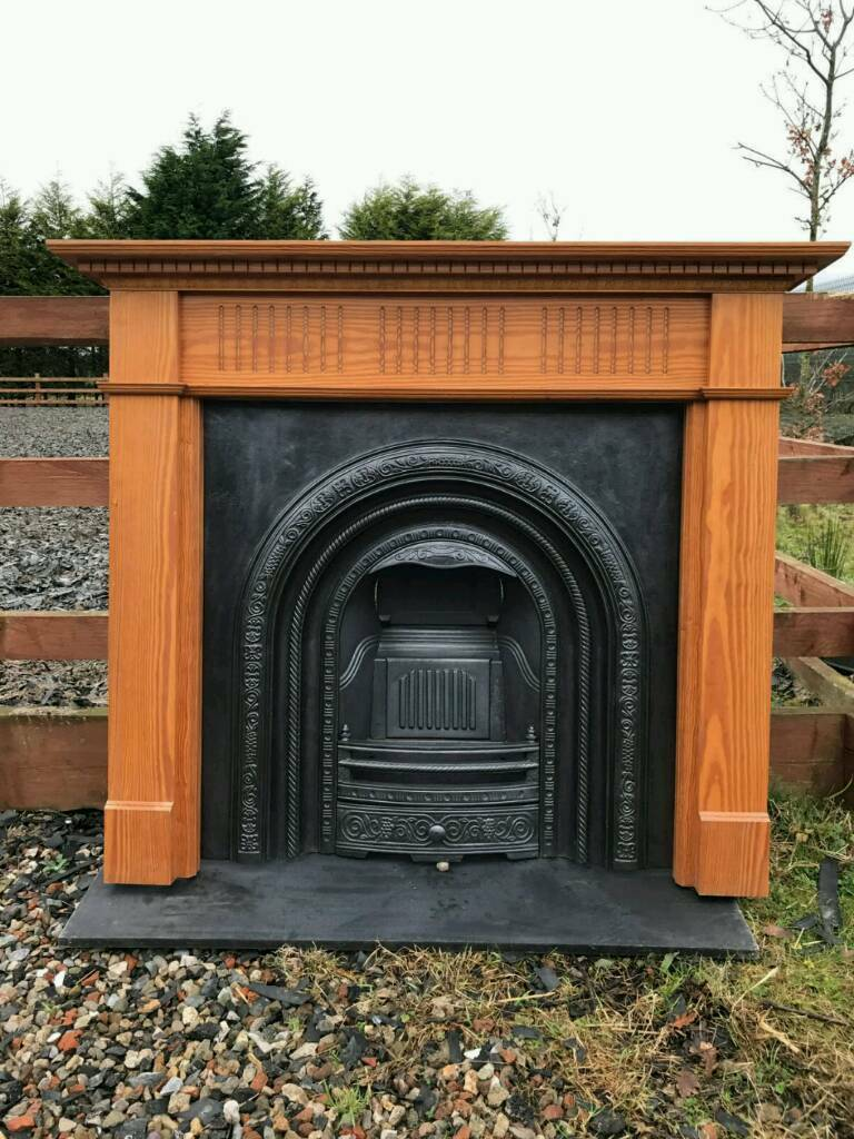 106 Cast Iron Fireplace Surround Fire Wood Old Arch Insert Antique ...