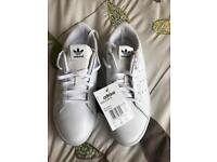 New womens adidas Stan Smith trainers white and blue