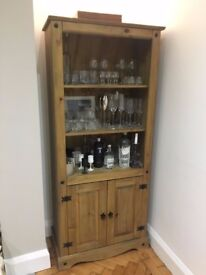 Solid oak tall display cabinet