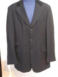 New CLUB MONACO Mens 42 Black Wool Velvet Blazer Jacket DEADSTOCK Velvet Collar SLIM LARGE Portugal Mans Horse Riding
