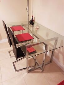 Glass Dining and 2 Chairs - Very Good Condition. Collection Only