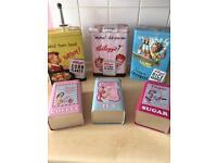 Tea sugar coffee tins kitchen storage Kellogg's