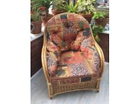 Wicker conservatory armchairs x 2, really comfortable and in good used condition