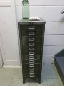 OLIVE GREEN VINTAGE FILING CABINET SMALL