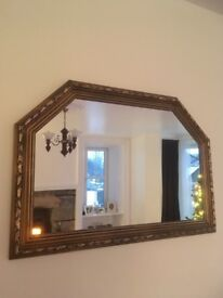 Large brass arched rectangular mirror
