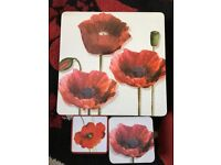 Red poppy placemats and coasters