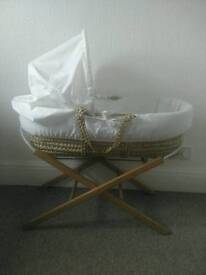 Lovely ivory moses basket and stand *CAN DELIVER*