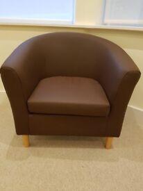 Pair Chocolate Tub Chairs