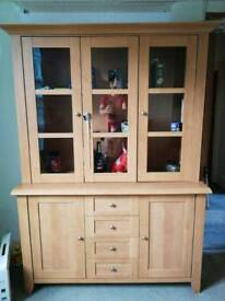 Dresser with glass display unit