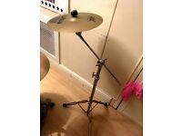 "Sabian 14"" crash cymbal and double braced boom stand"