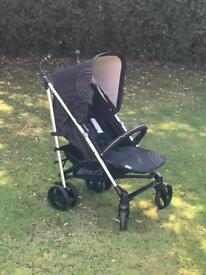 EXDISPLAY IMMACULATE HAUCK SPIRIT BUGGY STROLLER PRAM PUSHCHAIR WITH EXTEDING HOOD BLACK UNISEX