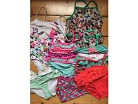 Girls swimming costumes bikinis bundle age 7-8