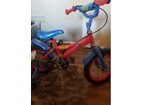 spider man bike and helmet 13 inch wheels and stabelizers