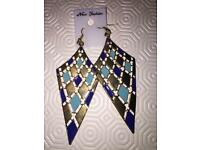 new navy blue and gold earrings