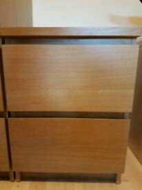 Ikea Oak Effect Chest of 2 Drawers