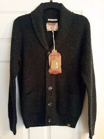 BRAND NEW WITH TAGS MENS CARDIGAN DARK GREY SIZE SMALL TOKYO LAUNDRY FROM TK MAXX