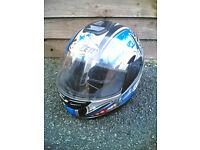 Lazer Full Face Motorbike Crash Helmet (Black/Blue Japanese Design) - Size L