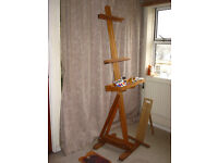 Large Professional Artist Easel: Wooden, Monet-esque style, Fully Adjustable with Oils & accessories