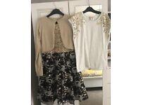 Girls monsoon dress, cardigan, top & shoes