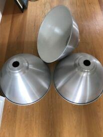 """3 large """"industrial type' loft ceiling pendants in metal"""