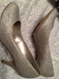 Silver heels and flats size 6