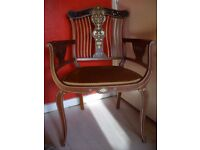 Art Nouveau antique mahogany and satinwood inlaid, decorative dining, salon chair, c.1900, £300