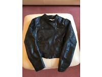 H&M faux leather girls jacket Age 11-12