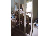 Triple door wardrobe - beech coloured