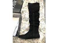 BNWT Black Suede Flat Thigh high boots