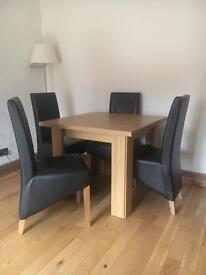 SQUARE DINING TABLE WITH FOUR LEATHER CHAIRS **Still available**