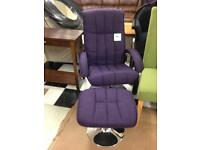Purple chair with footstool