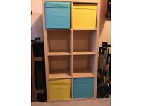 IKEA storage unit with boxes