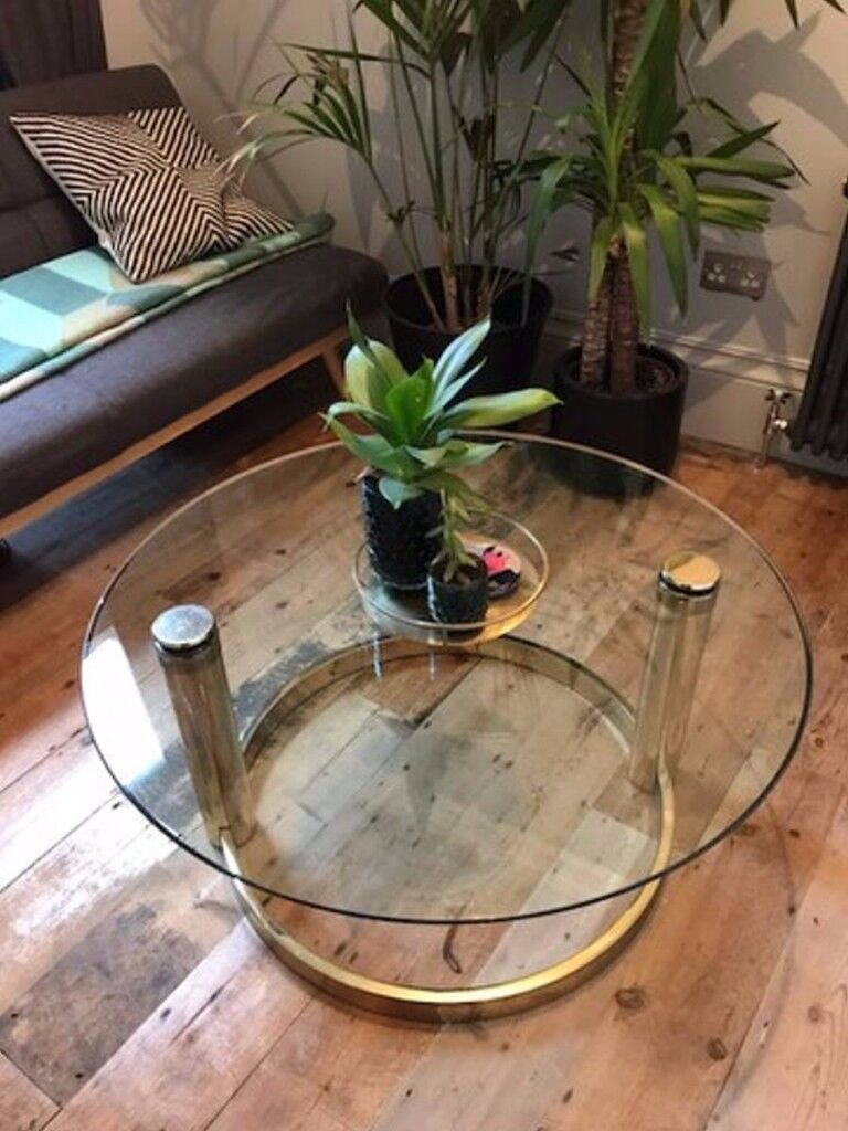 Hollywood Regency Mid Century 70s Brass Gold Glass Coffee Table